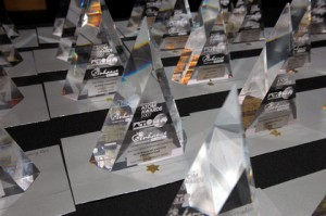 2007 ATOM Awards trophies. The 2008 trophies are the same, except for the year number.