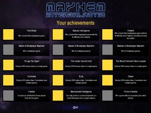 ...the Achievements screen, which lists all of the available achievements and indicates whether you've completed them or not.