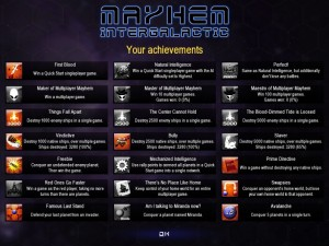 Screenshot of the achievements screen.