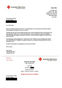 Red Cross receipt for the donation of $1,100.