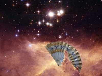 A hand fan in a nebula.
