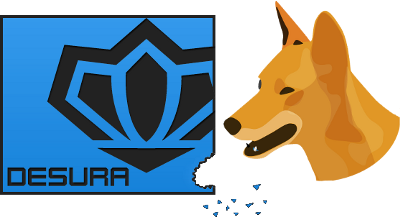 The Dingo taking a bite out of the Desura logo